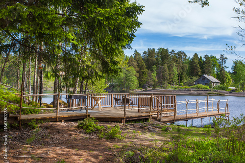 Picnic area by the lake in Karelia