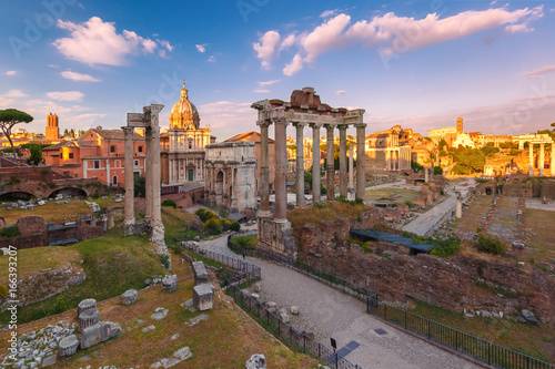 Staande foto Rome Ancient ruins of a Roman Forum or Foro Romano at sunset in Rome, Italy. View from Capitoline Hill