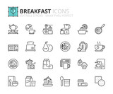 Outline icons about breakfast - 166399450