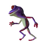 3d illustration of a running purple cartoon frog.