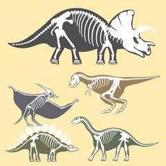 Dinosaurs skeletons silhouettes set fossil bone tyrannosaurus prehistoric animal dino bone vector flat illustration.