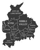 Lancashire county England UK black map with white labels illustration