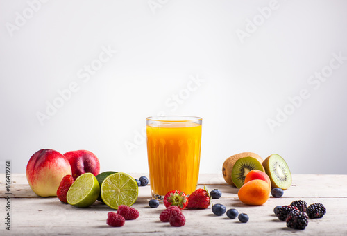 Poster Sap Nectarine juice and fruits