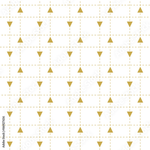 Triangles and dashed lines in gold. Seamless vector pattern - 166427636