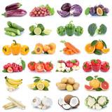 Obst und Gemüse Früchte Apfel Tomaten Bananen Orangen Zitrone Knoblauch Farben Collage Freisteller freigestellt isoliert