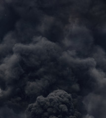 black smoke from a fire