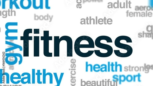Poster Fitness animated word cloud, text design animation.