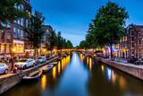Kanał w Amsterdamie, Holandia