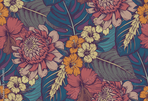 Vector seamless pattern with compositions of hand drawn tropical flowers - 166439852