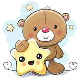 Cute Cartoon Teddy Bear  Star Wall Sticker