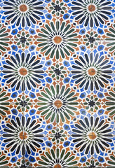 Tiles with floral motifs and stars