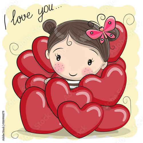 Cute Cartoon Girl in hearts