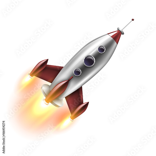 Foto op Canvas UFO Isolated Realistic Rocket