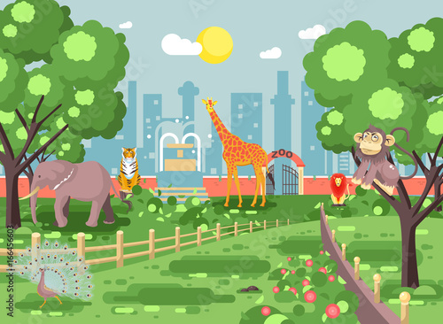 Vector illustration banner landscape, scenery, view, for site with zoo excursion, zoological garden, monkey, peacock, elephant, lion, tiger, giraffe, wild animals flat style city background