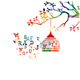 Colorful open birdcage with alphabet letters vector illustration. Alphabet text design for education concept - 166460865
