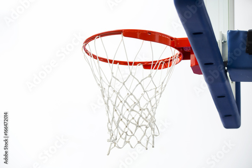 Plexiglas Basketbal Basketball hoop in a game hall.