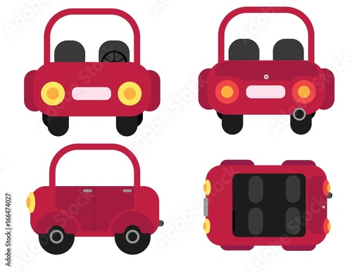 Car From 4 Angles Illustrations In Flat Design