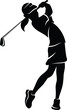 Highlighted silhouette of a girl golfer swinging an iron.