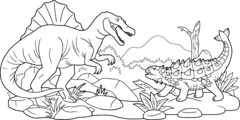 cartoon dino battle, coloring book