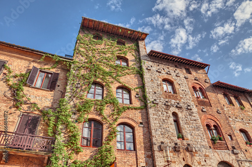 San Gimignano, Siena, Tuscany, Italy: ancient buildings in the old town