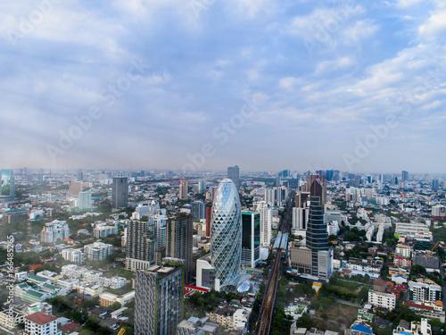 Aerial view modern office buildings Real estate, Bangkok Thailand