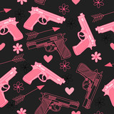 Pink seamless pattern with guns,love, arrow, hearts and flowers. Happy Valentine's Day.