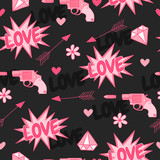 Happy Valentine's Day. Original seamless pattern with guns,love, arrow, hearts and flowers.