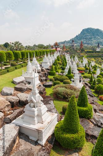 Nong Nooch Tropical Garden in Pattaya, Thailand. Landscape view of formal garden.
