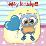 Cute Cartoon Owl with balloon - 166495870
