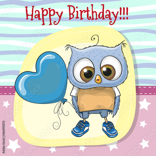 Foto op Aluminium Uilen cartoon Cute Cartoon Owl with balloon