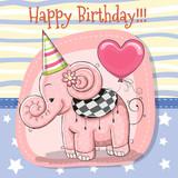 Cute Cartoon Elephant with balloon