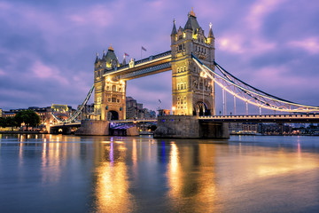 Tower Bridge over Thames river in London, UK