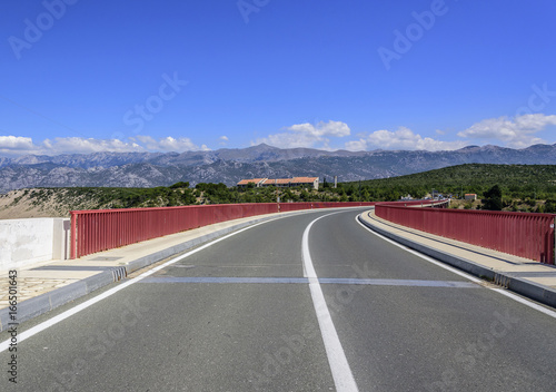 Red Maslenica Bridge in Croatia.