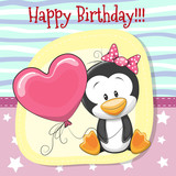 Cute Cartoon Penguin girl with balloon - 166503206