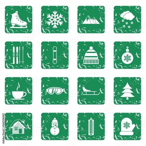 Keuken foto achterwand Vlinders in Grunge Winter icons set grunge