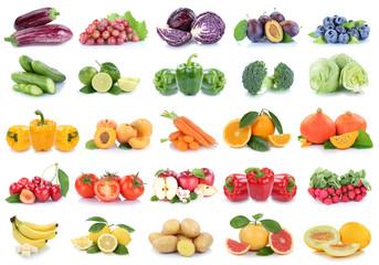 Obst und Gemüse Früchte Apfel Tomaten Zitronen Orangen Beeren Salat Farben Collage Freisteller freigestellt isoliert