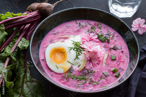 Beetroot soup. Close up - 166508072