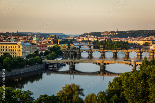 Tuinposter Praag View on the bridges on Vltava river and old town Prague, Czech Republic