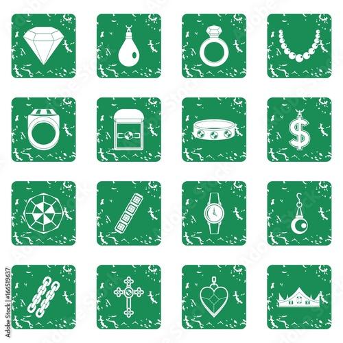 Keuken foto achterwand Vlinders in Grunge Jewelry items icons set grunge