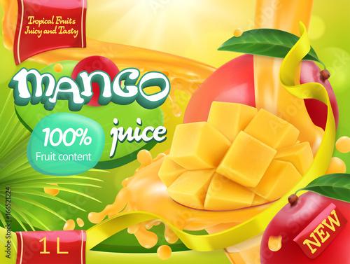 Mango juice. Sweet tropical fruits. 3d realistic vector, package design