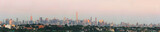 New York city skyline panorama under morning sunlight