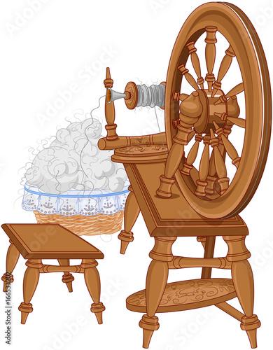 Foto op Aluminium Meisjeskamer Shepherd Spinning Wheel and Chair