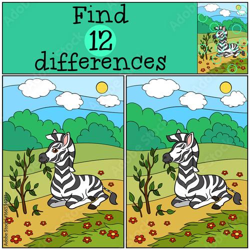 Plexiglas Zoo Educational game: Find differences. Little cute zebra eats.