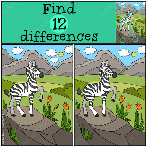 Educational game: Find differences. Little cute zebra smiles.