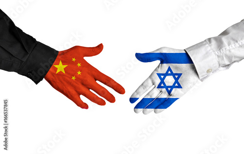 China and Israel leaders shaking hands on a deal agreement Poster