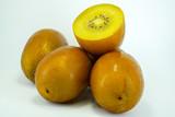 Fresh Yellow Flesh Kiwi Fruit Isolated on White Background.