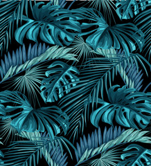 Vector tropical leaves seamless pattern