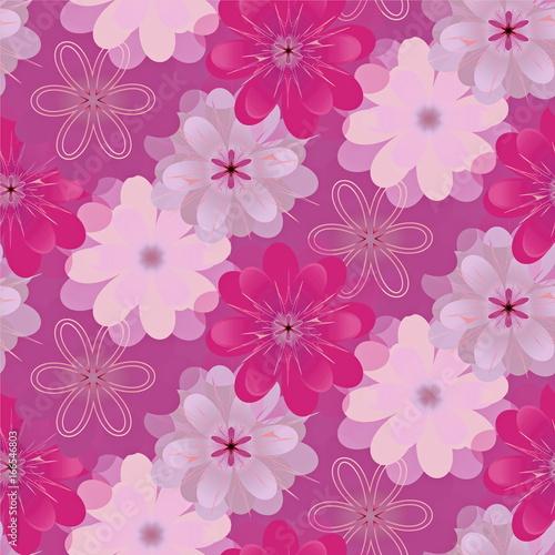 декоративный цветочный узор  бесшовный - 166546803