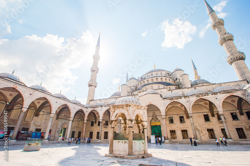 Courtyard of Blue Mosque - Sultan Ahmed or Sultan Ahmet Mosque in Istanbul city Poster
