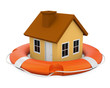House in Lifebuoy Isolated